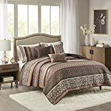 Madison Park Reversible Quilt Luxury Jacquard Design All Season, Breathable Coverlet Bedspread Bedding Set, Matching Shams, Decorative Pillow, King/Cal King(104'x94'), Princeton, Red, 5 Piece