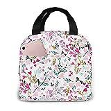 Bolsas de almuerzo con aislamiento de menta con rosas florales de corazón dulce Fiambrera térmica resistente al agua para trabajo, camping, picnic de viaje