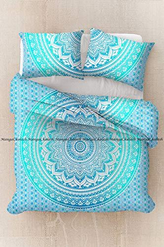 Sophia-Art Housse de couette indienne faite à la main en coton imprimé ethnique, bohème, mandala, ombre avec 2 taies d'oreiller, Coton, Vert ombré., California King 104*104 Inches