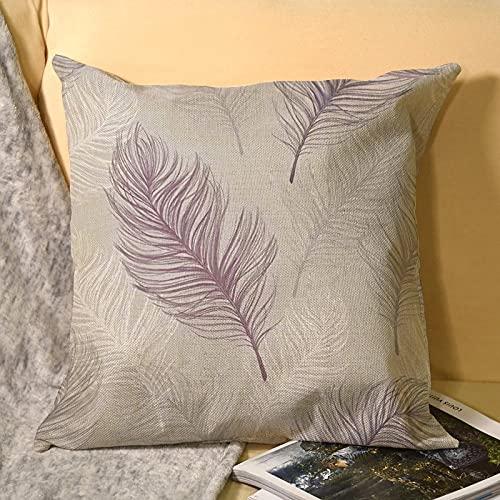 Funda de cojín de lino lila y morado con cremallera invisible 45 x 45 cm