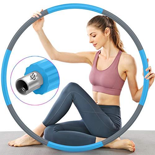 TTMOW Fitness Hula Hoop Reifen Erwachsene, Verbesserter Edelstahlkern mit Dicker Premium Schaumstoff, Stabiler, Komfortabler und Längeres Leben, 2,7 lb zum Abnehmen (Grau und Blau)