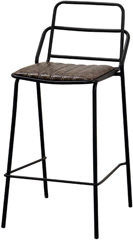 Simple Wrought Iron Lounge Bar Chair,Retro Fashion Four Footstool,Creative Cafe High Bar Stool,PU Leather Cushion Backrest - 42cmX42cmX105cm