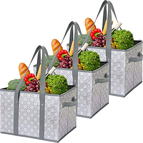 WiseLife Reusable Grocery Bags Storage Baskets Shopping Bags 3 PackWater Resistant Foldable Collapsible Large Storage Bins Tote Bags Cube Box for Groceries ClothesToysShoes and Picnic