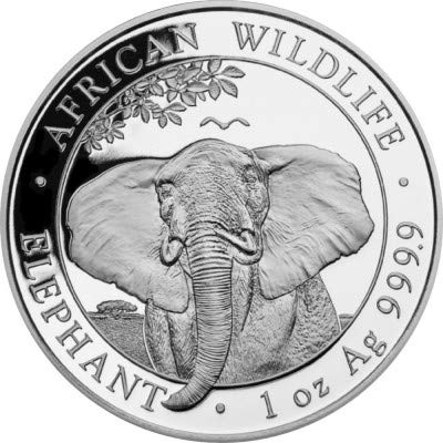 Silbermünze New!!! Somalia Elefant 2021, 1 Unze, Anlagemünze, Neu, in Münzkapseln, Differenzbesteuert nach § 25a UstG