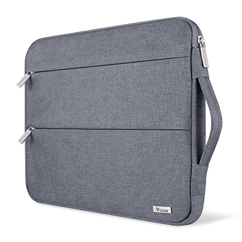 Voova 15 15.6 14 Inch Laptop Sleeve Case with Handle Compatible with MacBook Pro /15' Surface Book 2 /XPS 15 /Chromebook/HP/Lenovo, Waterproof Protective Cover Bag with 2 Accessory Pockets-Grey