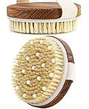 Teak Wood Bath Body Brush for Wet and Dry Brushing, Exfoliating Brush Body Scrubber, Cellulite Massager Brush for Women Exfoliating Skin, Shower Body Brush, 2 Round Body Brush