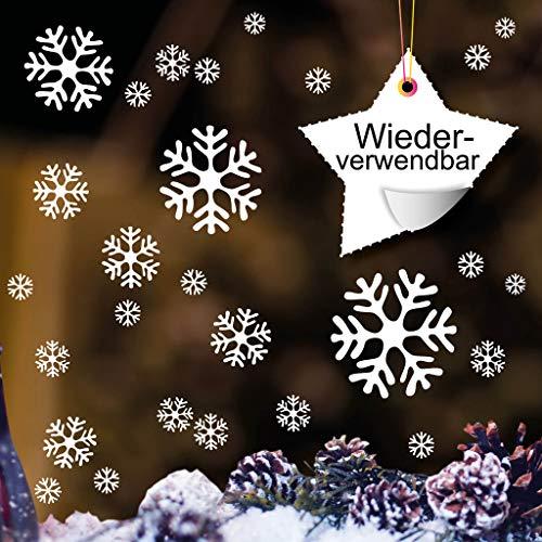 Wandtattoo-Loft 50 Schneeflocken weiß – Wiederverwendbare Fensteraufkleber