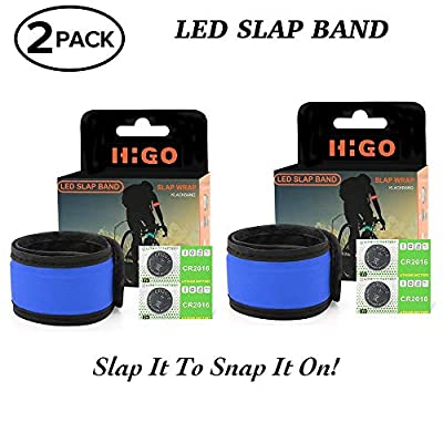 Higo LED Slap Bracelet, Glow in The Dark Sports Wristbands, Safety Running Gear Light Up Armbands for Cycling, Jogging, Hiking (2 Pack Blue(35cm))