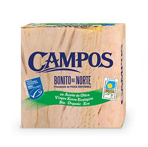CAMPOS, Conserva de Bonito del Norte de pesca certificada MSC en aceite de oliva ecológico - pack de 6 latas de 160 gr.