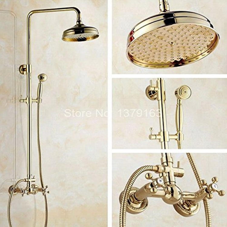 Zwei Kreuzgriffe 8 '' Bad Regen Duschsystem mit dem Duschkopf & Handbrause Set Wasserhahn Mischbatterie Gold Farbe Messing agf321, Gelb