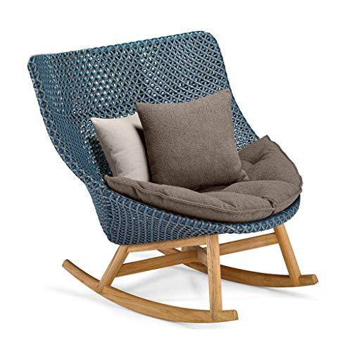 WPOV-A Rattan Outdoor Schaukelstuhl mit Kissen Single Sofa Lounge Chair, eine Vielzahl von Optionen 1205-YY (Color : A, Size : Rocking Chair)