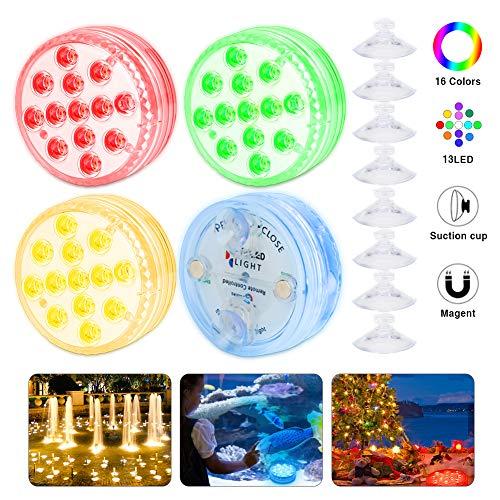 FEALING Unterwasser Licht, Aquarium Led Beleuchtung mit Saugnäpfen ausgestattet, Neues Design 13 LED Farbwechsel Wasserdichtes Licht für Schwimmbad/Badezimmer/Aquarium/Festival Party - 4 Stück