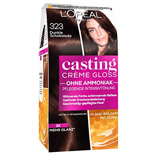 L'Oréal Paris Casting Creme Gloss Glossy Blacks Pflege-Haarfarbe, 323 Dunkle Schololade, 1 x 75 ml
