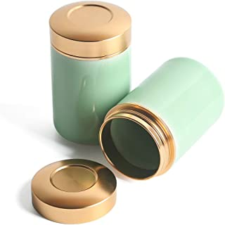 Porcelain Tea Tins Canister set with Airtight Lids Home Kitchen Canisters for Tea Coffee Sugar Storage Loose Leaf Tea Tin Containers storage (Cyan 1, 2PC/5OZ)