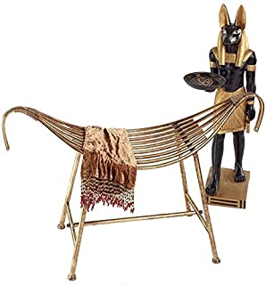 Design Toscano God of the Nile Egyptian-Style Metal Bench, Antique Gold