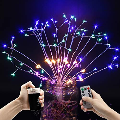 LED fuochi d'artificio Luci Fatate, beautyshow Appendere Luce Stringa 120 LED Luci Bianco 8 modalità Telecomando per Interni Esterni Natale Feste Matrimoni Vaso Casa Giardino (Multicolore)