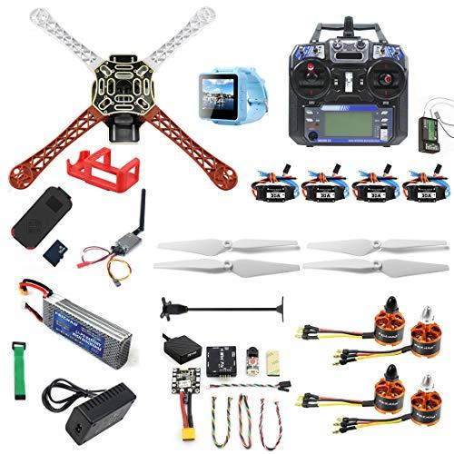 FEICHAO DIY RC Drone Kit F450-V2 FPV Quadcopter con Controlador FS I6 Mini PIX Mini GPS Q6 4K Gran Angular Cámara de acción FPV Watch / FPV Goggles Kit Completo Drone Kit (FPV Watch Version)