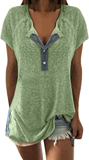Allywit Plus Size Womens Short Sleeve Henley Button up T Shirt Casual Basic Tops Blouse