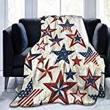 Inrubie Flannel Blanket - Americana Stars Throw and Blankets, Warm and Soft Bed Blankets for Men and Women