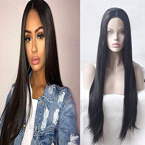 Qbylyf FA Long Straight Natural Black Wigs Wig Straigtht Black Synthetic Lace Front with Baby Hair African American Braided for Women ly (Size : 18inches)