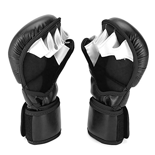 Sanabul New Item Essential 7 oz MMA Hybrid Sparring Gloves (Black/Silver, Large/X-Large)