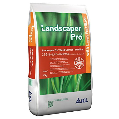 ICL Rasendünger mit Unkrautvernichter und Langzeitwirkung gegen Unkraut Landscaper Pro Weed Control 22+05+05 (+2,4D +Dicamba) 10kg