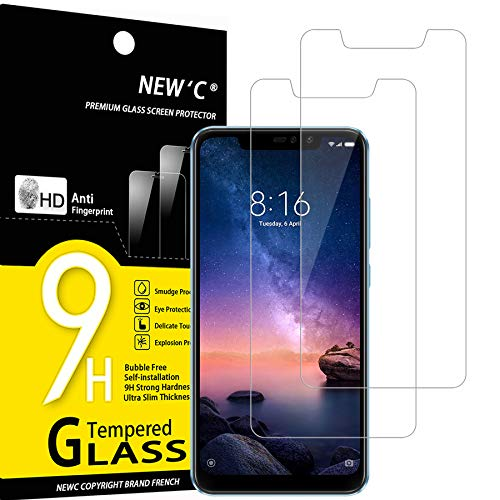 NEW'C Lot de 2, Verre Trempé Compatible avec Xiaomi Redmi Note 6 Pro, Film Protection écran sans Bulles d'air Ultra Résistant (0,33mm HD Ultra Transparent) Dureté 9H Glass
