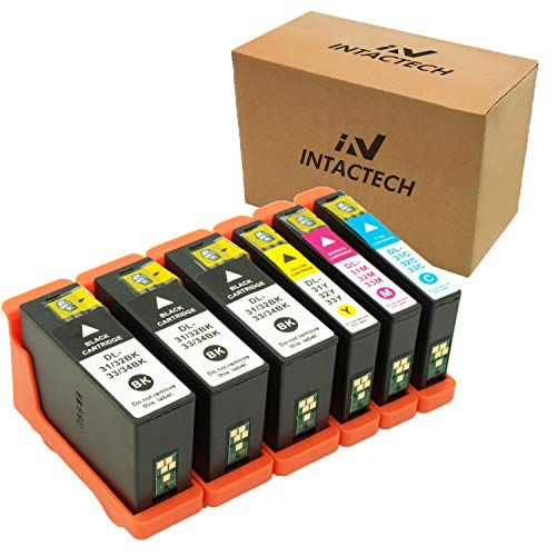 Mejor Intactech 6 Pack Replacement for Dell Series 31 32 33 Ink Cartridges for Dell V525w V725w Printer (3 Black, 1 Cyan, 1 Magenta, 1 Yellow) crítica 2020