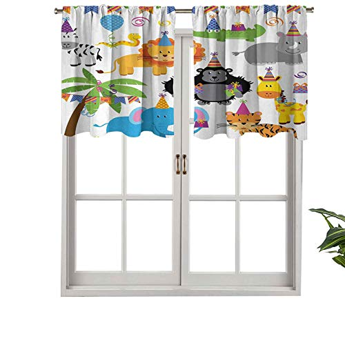 Hiiiman UV Blockout Curtain Valance Jungle Wild Safari Animals in Cartoon Pattern with Party, Set of 2, 42'x24' for Children Kids Room