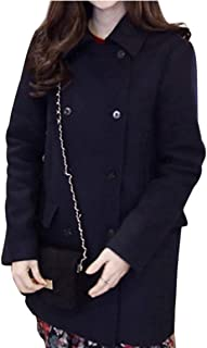 Long Blends for Women Loose Turn Down Collar Female Coats Thick Warm Wool