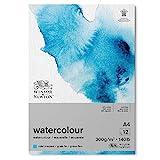 Winsor & Newton Watercolour Blocco Grana Fine 300 g - A4 - Incollato 1 Lato - 12 Fogli