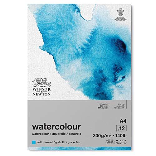 Winsor & Newton Carta, Miscela di Cotone 25% e Fibre di cellulosa, Bianco Naturale Chiaro, A4-12 Blatt im Block, 300g/m²