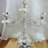 Soporte de la vela de la aleación de zinc Portátil de la vela de 3 armados para la mesa de comedor Altura de plata 13in / 33cm Soporte de vela de piso alto para mesa de boda Pieza de la Navidad Pieza
