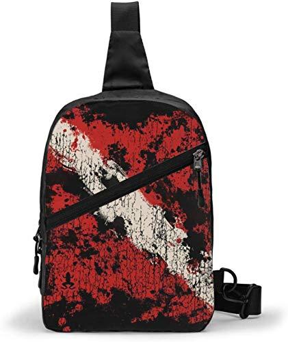 Old Dive Flag Sling Bag,Crossbody Shoulder Chest Outdoor Hiking Travel Personal Pocket Bag for Women Men Water Resistance