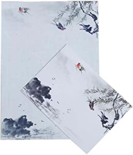 10pcs Chinese Ink Painted Swallow Invitation Envelopes Stationery Greetings Cards for Calligraphy, Wedding