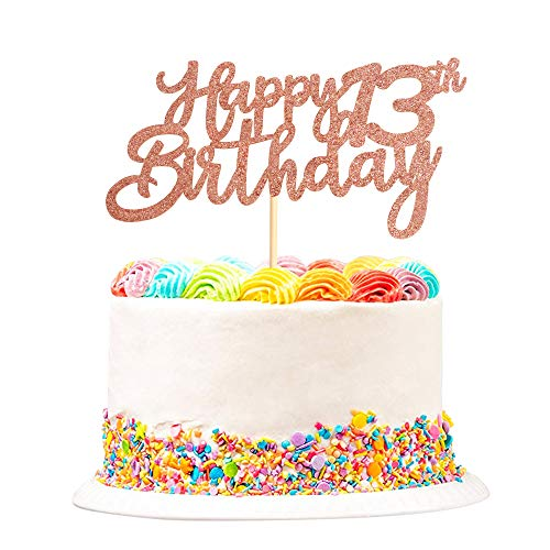Unimall Global Juego de 3 toppers para tartas con texto 'Happy 13th Birthday', para cumpleaños, cupcakes, postres, decoración para tartas de colores para fiestas de cumpleaños