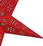 Faltbarer Advents Leucht Stern aus Papier, Weihnachtsstern Anubis rot / Papierstern 5 Zacken - 3