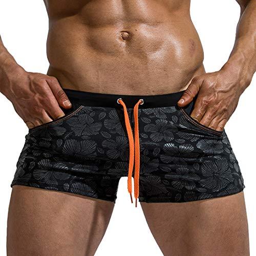 AIMPACT Men's Swimwear Trunks Surf Drawstring Quick Dry Sexy Swim Square Short Athletic Swimsuits for Men(BlackXL=US M)