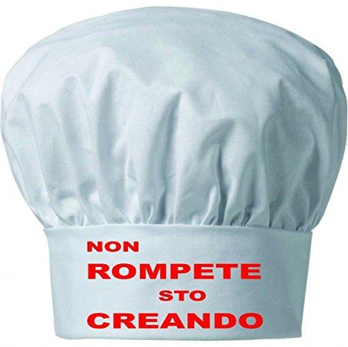 Cappello Uomo Donna Cuoco Chef pasticcere Bianco Taglia Unica con Scritta Non ROMPETE STO CREANDO