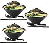 ZHFF 3 Juegos de 57 onzas de tazón de Sopa de Fideos Ramen japonés, vajilla de plástico Duro de melamina con Cuchara y Palillos a Juego para Cuencos de Fideos asiáticos Udon Soba Pho