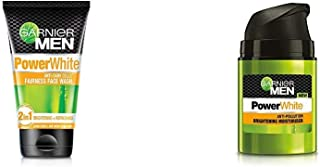 Garnier Men Power White Anti-Dark Cells Fairness Face Wash, 100g And Garnier Men PowerWhite Anti-Pollution Brightening Moi...
