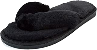 heelchic Women's Fuzzy Slippers Fluffy Memory Foam Thong Slippers Outdoor Slippers Black