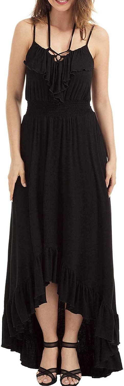 Sububblepper Womens Spaghetti Strap V Neck Lace Up Irregular Ruffle Hem Sleeveless Maxi Dress Formal Occassion (color   Black, Size   S)