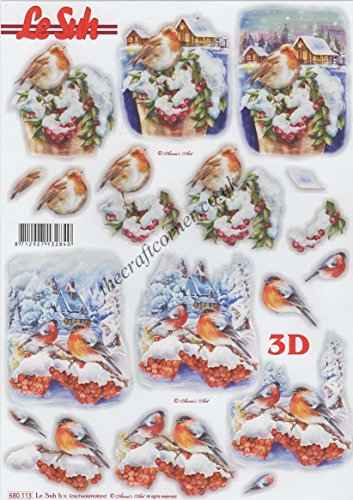 Robin's In The Snow 3D Die Cut Decoupage Sheet by Le Suh