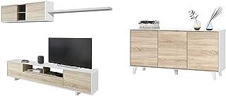 Habitdesign Roble 200 x 41 x 46 + Aparador Buffet contrachapada Blanco/Madera 54 cm x 75 cm x 41 cm