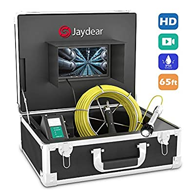 """Sewer Camera,Pipe Inspection Camera 65ft/20M Drain Snake Camera Plumbing Video System 7"""" LCD Monitor 1000TVL Sony CCD IP68 Waterproof Pipe Camera DVR Recording Home & Industrial Endoscope Camera"""