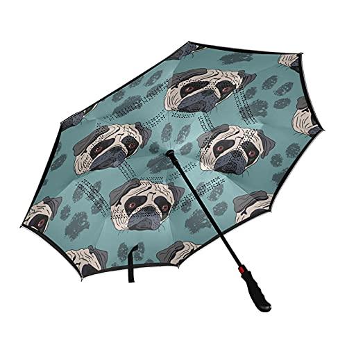 ISAOA - Paraguas de golf con diseño de pata de perro de pug, impermeable, con funda de transporte