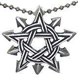 Chaosagram Gothic Double Pentagram Star Magick Pagan 10 Pointed Star Wicca Witch's Magic Pewter Unisex Women's Men's Pendant Necklace Travel Lucky Charm Protection Amulet for men w Silver Ball Chain