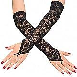 2 pares de guantes de encaje sin dedos sexy para mujer, blanco o negro, elegante con cuentas femeninas club de baile de graduación accesorios de boda