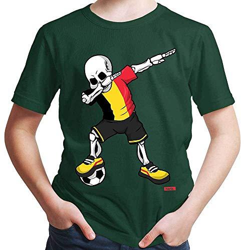 HARIZ Jungen T-Shirt Fussball Dab Skelett Belgien Land Trikot Plus Geschenkkarten Dunkel Grün 140/9-11 Jahre